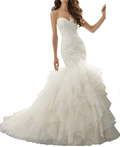 Tiered Mermaid Dress Ivory Lace Sexy Dresses BONBETE Wedding Bride Train Organza Court w7OnHxqU