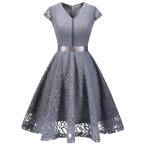 Lelili Women Floral Lace Printed Evening Party Swing Dress Vintage Bow-Knot Belt Bridesmaid Dress