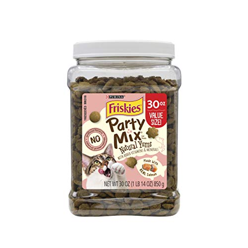 Purina Friskies Made in USA Facilities, Natural Cat Treats; Party Mix Natural Yums With Real Salmon - 30 oz. Can