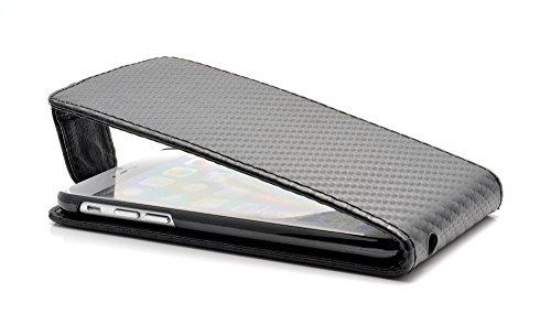 """iProtect housse Flip Case cuir synthétiquee pochette de protection charbon pour Apple iPhone 6 (4,7"""") en noir"""