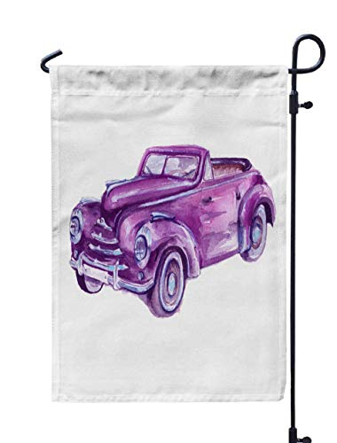 GROOTEY Welcome Outdoor Garden Flag Home Yard Decorative 12X18 Inches Retro Car Vintage Isolated Watercolor Double Sided Seasonal Garden Flags]()