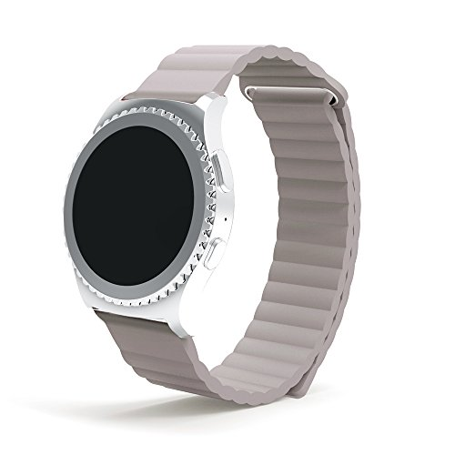 Samsung Gear S2 Classic SM-R732/R7320 Watch Band, AWStech Genuine Leather Loop Watch Bracelet with Unique Magnet Lock No Buckle Needed for Gear S2 Classic - Beige