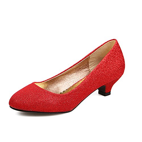 Pumps Satin Red coloing Evening Prom Wedding Toe Shoes Mid Rhinestones Closed Women 0 0 Heel Rqax1B