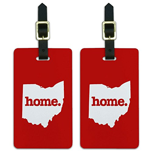 Graphics & More Ohio Oh Home State Luggage Suitcase Id Tags-Solid Red, White