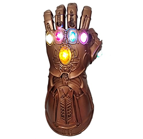 Zheng New Thanos Glove Costume Left Hand Gloves Infinity Soft PVC Gauntlet Glowing Version (Battery not Included)