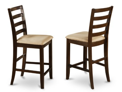 East West Furniture FAS-CAP-C Microfiber Upholstered Seat Stool Set with Ladder Back, Set of 2