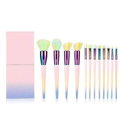et 12pcs Colorful Professional Makeup Brushes with Makeup bag, Soft Synthetic Hair, Foundation brush, Powder Brush, Blush Brush,Contour Brush,Eye Brush, Lip Brush, Brow Brush ()