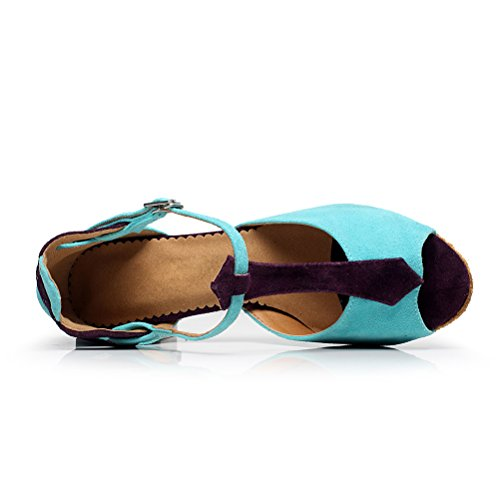 Bcln Mujeres Open Toe Sandals Latin Salsa Tango Heels Practice Ballroom Zapatos De Baile Con 2.75 Heel Blue