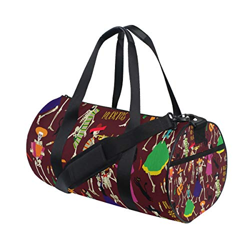 SLHFPX Gym Bag Halloween Skull Music Party Women Yoga Canvas Duffel Bag Tennis Racket Tote Bags -