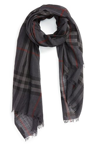 - Burberry Lightweight Check Wool and Silk Scarf - Charcoal