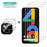 GESMA for Google Pixel 4a Screen Protector and Camera Protector, [3 Screen Protectors+2 Camera Protectors][Touch Sensitive ] Tempered Glass Screen Protector for Google Pixel 4a(Clear)
