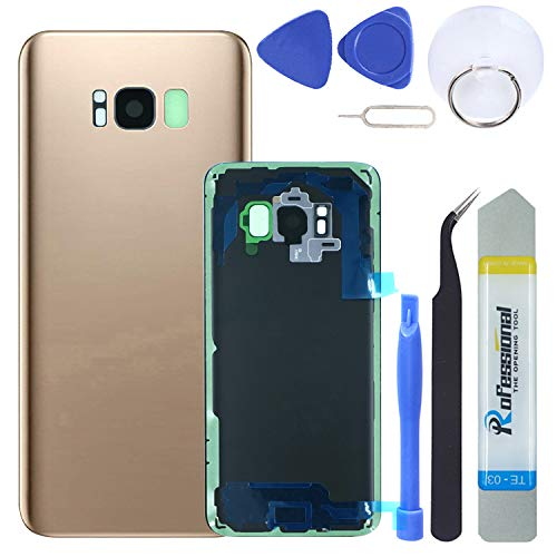 (MAGIAI Rear Glass Assembly for Samsung Galaxy S8 (All Carriers) Back Glass Panel Cover Housing + Camera Bezel & Lens + Fingerprint Sensor Adhesive Replacement with Pry Tools (Gold))