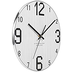 JoFomp Wooden Wall Clock, Non-ticking Silent Wall Clocks Battery Operated Vintage Rustic Country Tuscan Style Decoration Clock for Home Kitchen Office, Large Number|2 Thick Face|Metal Edging (Silver)
