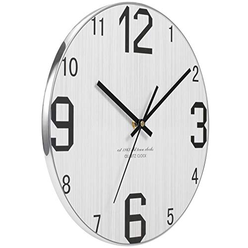 JoFomp Wooden Wall Clock, Non-ticking Silent Wall Clocks Battery Operated Vintage Rustic Country Tuscan Style Decoration Clock for Home Kitchen Office, Large Number 2