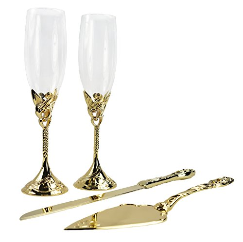 Unik Occasions Wedding Toasting Glasses and Cake Serving Set in Gold