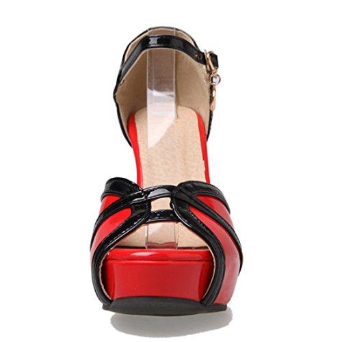 YE Damen Peep Toe Knöchelriemchen Sandalen Lack Stiletto High Heels Plateau mit Schnalle 8cm Absatz Elegant Schuhe Rote