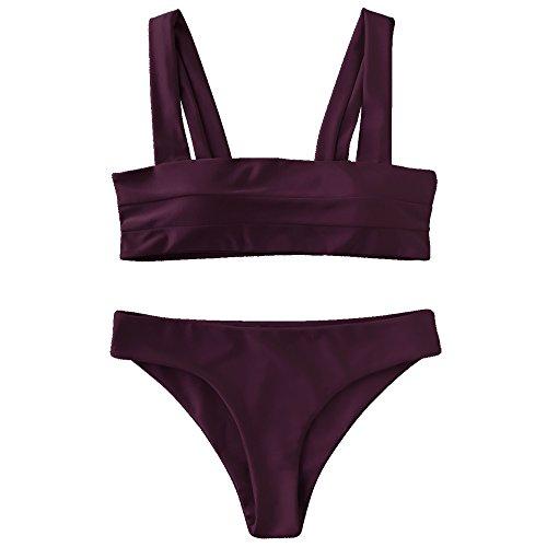 Merlot Set - GAMISS Women's Two Pieces Bikini Sets Swimsuit Bandeau Low WaistedSwimwear Bathing Suit(Merlot-M)