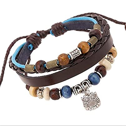 ZUOZUO Leather Wristband Leather Antique Silver Owl Charm Bracelet Ladies Men Adjustable Braided Wristband Cuffs Men And Women Estimated Price £17.99 -
