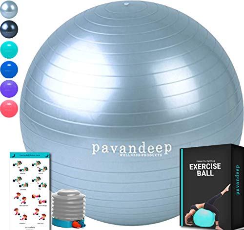 Pavandeep Exercise Ball Chair, BPA Free (Silver, L 75cm) ()