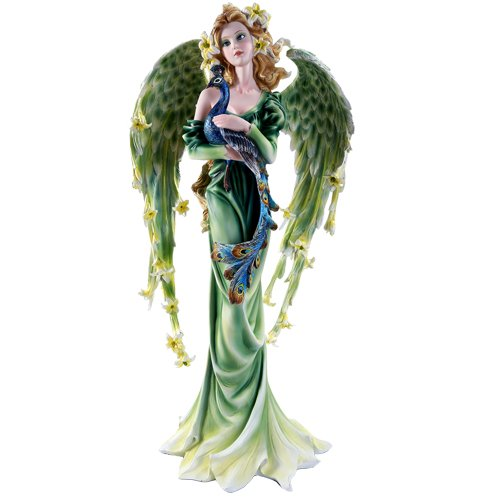 Large Flowered (Large Graceful Peacock Fairy with Lily Flowered Wings Embracing Peacock Figurine 22 Inch)