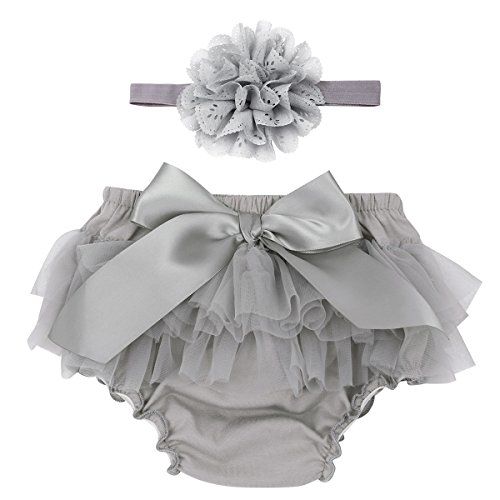 dPois Infant Baby Girls' Tulle Bowknot Ruffle Bloomers Skirts Diaper Cover with Flower Headband 2PCS Photography Prop Set Gray 3-6 Months -