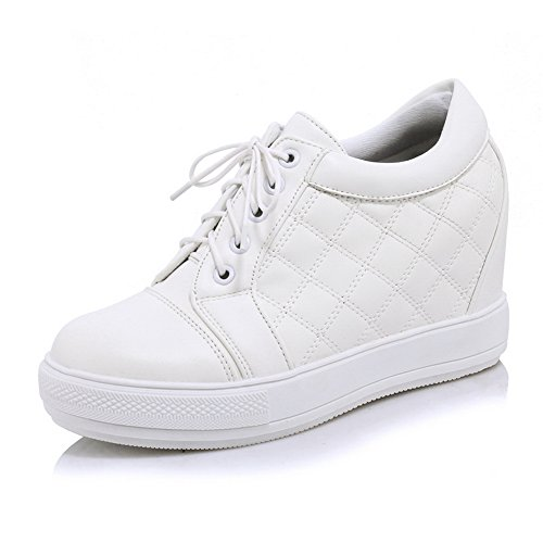 Imitated Inside Girls Boots White Platform Leather Heighten Bandage 1TO9 OTRUzccf