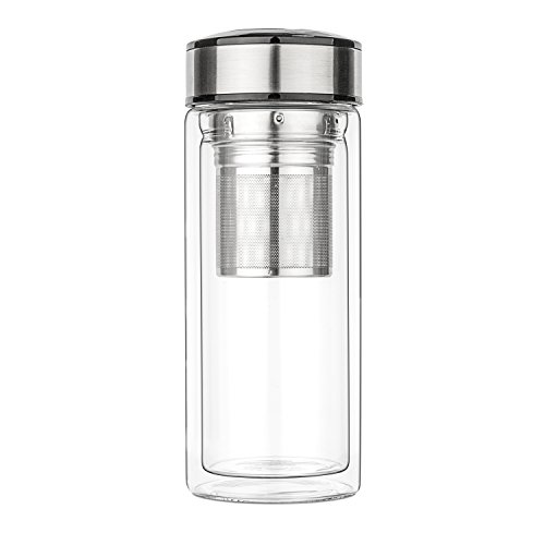 teaTRAVEL Glass Double Walled Tea Mug Cup Thermos w/ Basket