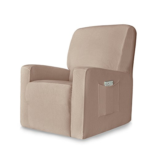 Chunyi 1-Piece Stretch Spandex Jacquard Recliner Chair Slipcovers (Recliner, Light Khaki)