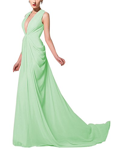 t/Mermaid Evening Dress 2018 V-Neck Formal Gowns Silk Party Dress Mint Size 8 ()