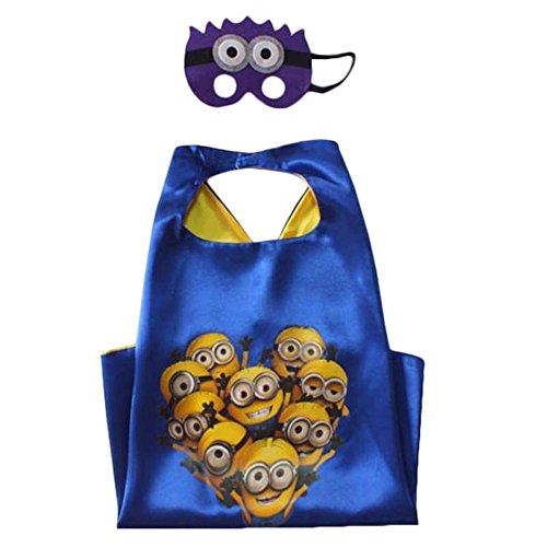 [Superhero Cape & Mask Costume Set Super Kids Boys Girls Birthday Party Dress Up The Minions Blue and] (Novel Halloween Costume Ideas)