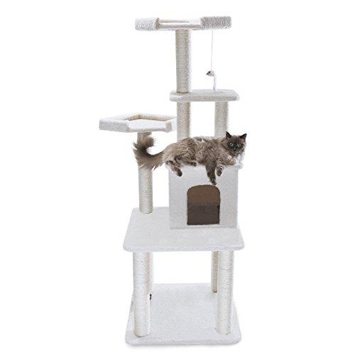 Majestic Pet Products 64 inch Cream Bungalow Cat Furniture Condo House Scratcher Multi Level Pet Activity ()