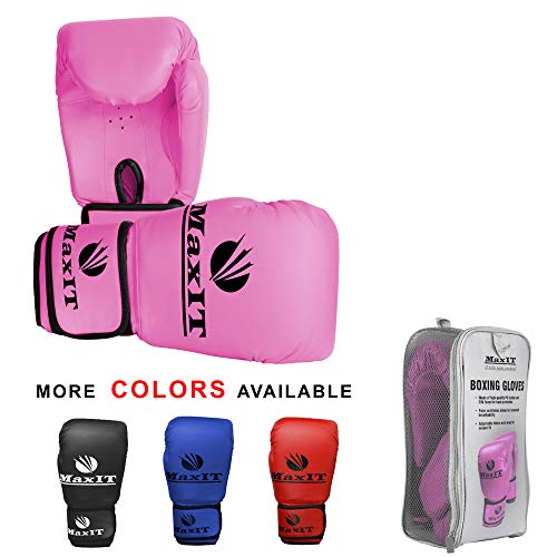MaxIT Pro Style Boxing Gloves | Padded Odor-Free PU Leather for Men or Women | Hand Glove Set for MMA, Muay Thai, Sparring, Boxing, Kickboxing, Punching Bag, Training, Fighting Sports