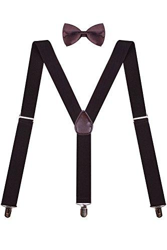 Bow Tie Suspender Combo Classic Bow Ties Bow Tie Suspenders for Men Brown