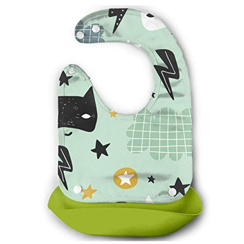 Cute Hero Mask Rubber Baby Bibs Removable Unisex Bibs for Toddler Wipe,Easy -