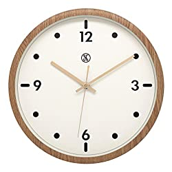JustNile x A.Cerco 13 Analog Wall Clock, Non-ticking Precise Sweep Movement, Durable Plastic Made, Oak Wood Grain Design, Sleek Modern Living Room Bedroom Office Decor