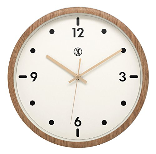 "JustNile x A.Cerco 13"" Analog Wall Clock, Non-ticking Precise Sweep Movement, Durable Plastic Made, Oak Wood Grain Design, Sleek Modern Living Room Bedroom Office Decor"
