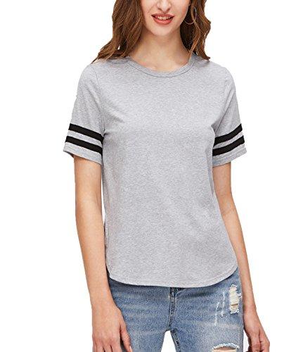Women's Short Sleeve Crewneck Cotton Baseball Tee Shirts (Gray XL)
