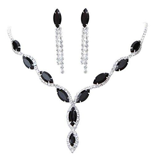 Black Wedding Jewelry - BOLY Womens Wedding Jewelry Crystal Rhinestone Diamond Gemstone Pendant Necklace Earrings (Set of 2) Black