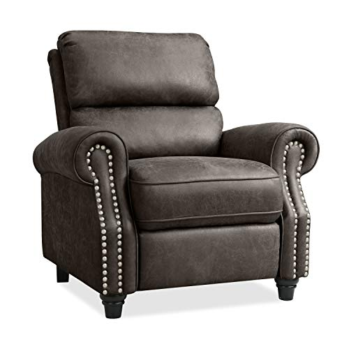 Domesis Cortez Push Back Recliner Chair in Fog Gray Distressed Faux Leather