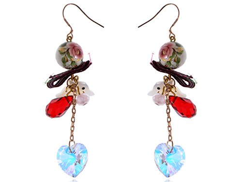 (Alilang Swarovski Crystal Element Gold Tone Multicolored Oriental Dove Heart Beaded Dangle Earrings)