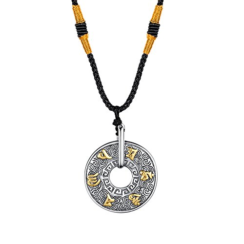 (INRENG Men's Stainless Steel Tibetan Buddhist Om Mani Padme Hum Mantra Pendant Necklace Yoga Religious Jewelry Gold)