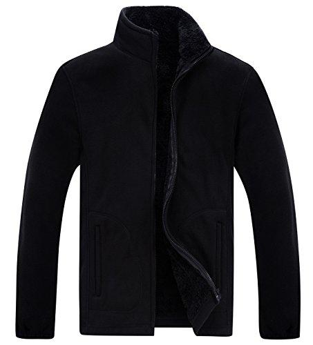 (Panegy Mens Warm Up Zip Fleece Pullover Jackets Solid Classic Winter Coats Coldgear for Outdoor Activities Black 190)
