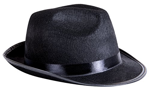 Kangaroo Black Fedora Gangster Hat (1920 Gangster Costumes)