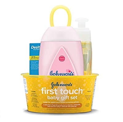 Johnson's First Touch Gift Set, Baby Bath, Skin, and Hair Essentials for New Parents, 5 Items