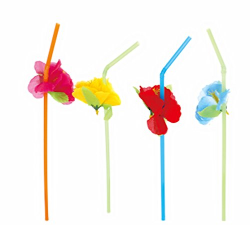 BOSHENG 36 Colorful HIBISCUS Straws Party Decor Table Beverage Decorations
