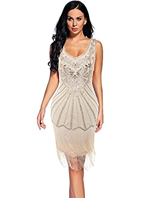 Women's 1920s Flapper Dress Sequin Embellished Gatsby Tassels Cocktail Dress