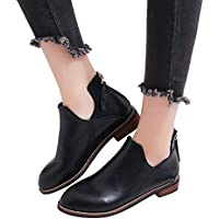 Womens Autumn Winter Low Heel Flat Block Ankle Boots Ladies Comfortable Work Shorty Shoes