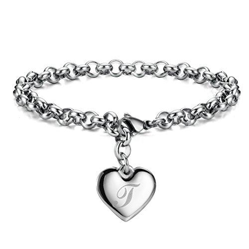 Monily Initial Charm Bracelets Stainless Steel Heart Letters T Alphabet Bracelet for Women