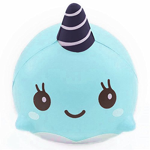 Mchoice 9CM Soft Whale Cartoon Squishy Slow Rising Squeeze Toy Phone Straps Ballchains (Blue)