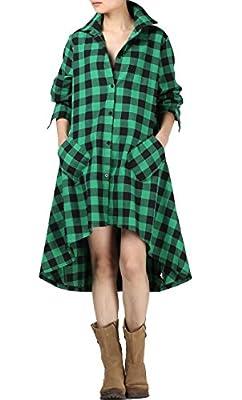 Mordenmiss Women's 2017 New Plaid Long Sleeve Button Down Hi-Low Hem Shirt Dress S-2XL